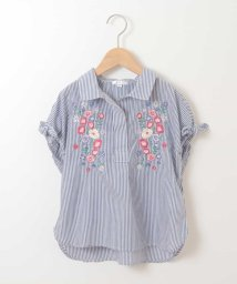 a.v.v(KID'S)/[140-150]フラワーエンブロイダリーストライプシャツ/500816301