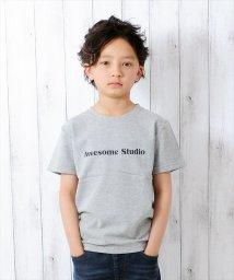 GLAZOS/英字デザイン鹿の子半袖Tシャツ/500922669