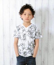 GLAZOS/ボタニカル総柄・半袖Tシャツ/500922672