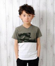 GLAZOS/カモフラ柄・切替半袖Tシャツ/500922682