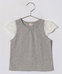 petit main/袖スカラップレース切り替えTシャツ/500904992