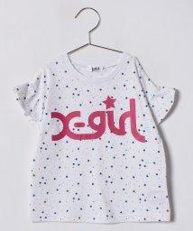 X-girl Stages/スター総柄ロゴ入り袖フリルTシャツ/500912472