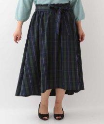 eur3/【ラ・ファーファ5月号掲載】【大きいサイズ】マドラスチェックギャザーリボンスカート/500818949