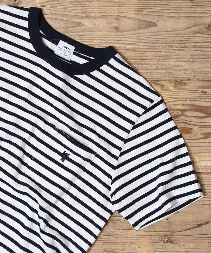 coen:スラブボーダーポケットTシャツ 画像3