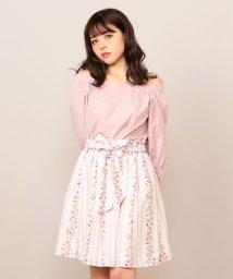 MIIA/ストライプフラワープリントギャザースカート/500927973