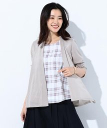 J.PRESS LADIES(LARGE SIZE)/【2点セット】チェックプリント ツインセット/500934486