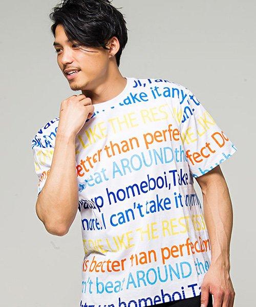 CavariA【キャバリア】カラフルメッセージプリントビッグシルエットクルーネック半袖Tシャツ