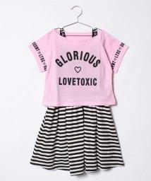 Lovetoxic/ロゴTシャツ×ボーダーワンピースセット/500919686