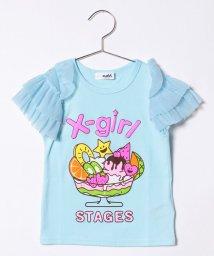X-girl Stages/キラッキー&パフェ袖チュールフリルTシャツ/500919710