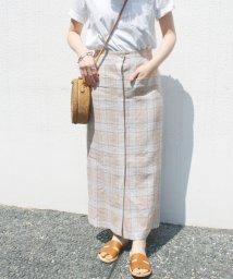 SLOBE IENA/麻混チェックタイトスカート◆/500939816