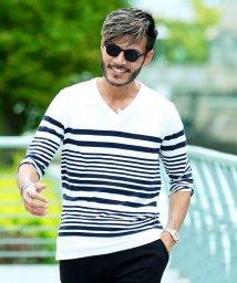 JIGGYS SHOP/マルチボーダーTシャツ & 7分袖Tシャツ / Tシャツ メンズ ボーダー vネック uネック/500942168