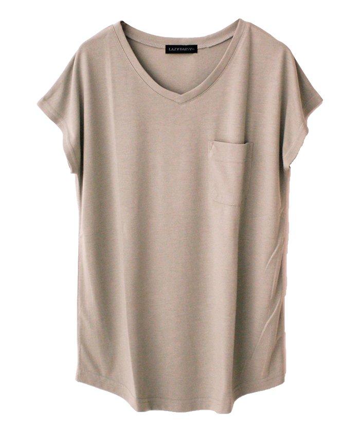 美ラインシンプルVネックTシャツ