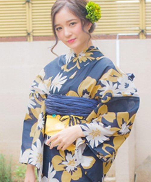 Dita(ディータ)/Dita【ディータ】1人で簡単に着られる作り帯の可愛い女性浴衣 4点フルセット(ゆかた・作り帯・下駄・着付けカタログ)/dl-2018kimuface12