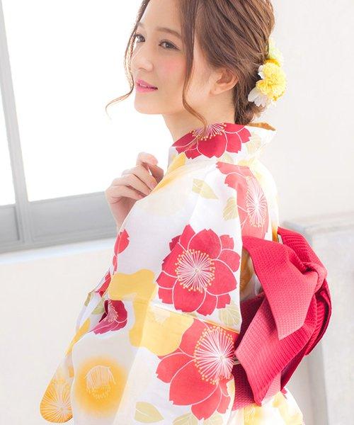 Dita(ディータ)/Dita【ディータ】1人で簡単に着られる作り帯の可愛い女性浴衣 4点フルセット(ゆかた・作り帯・下駄・着付けカタログ)/dl-2018kimuface14