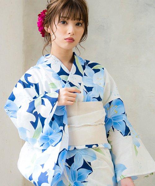 Dita(ディータ)/Dita【ディータ】1人で簡単に着られる作り帯の可愛い女性浴衣 4点フルセット(ゆかた・作り帯・下駄・着付けカタログ)/dl-2018kimuface15