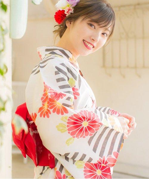 Dita(ディータ)/Dita【ディータ】1人で簡単に着られる作り帯の可愛い女性浴衣 4点フルセット(ゆかた・作り帯・下駄・着付けカタログ)/dl-2018kimuface19