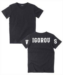 GLAZOS/バックプリントVネック半袖Tシャツ/500955892