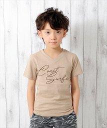GLAZOS/筆記体ロゴプリント半袖VネックTシャツ/500955899