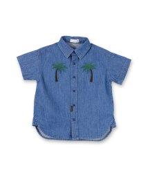 branshes/パームツリー刺繍デニム半袖シャツ/500905140