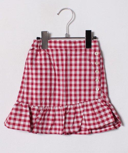 petit main(プティマイン)/裾フリル切り替えギンガムチェック柄スカート/9682108