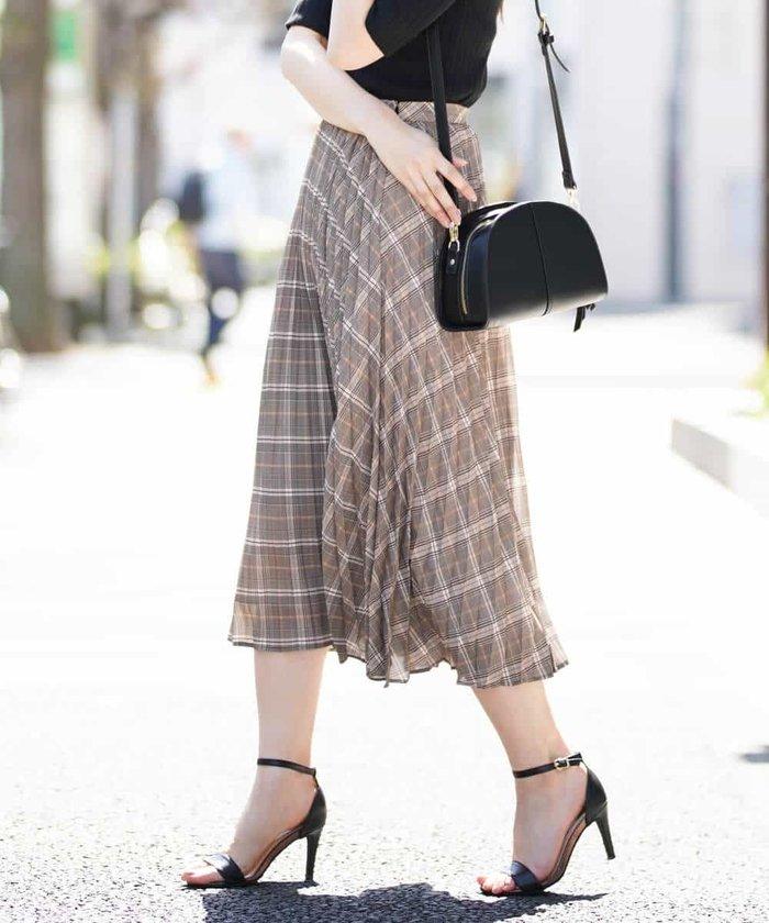 【洗える】バイアスチェックptプリーツスカート