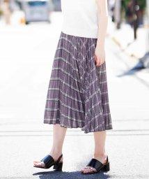 MK MICHEL KLEIN/【洗える】バイアスチェックptプリーツスカート/500970115