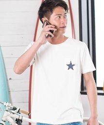 CavariA/CavariA【キャバリア】星柄サガラワッペン刺繍クルーネック半袖Tシャツ/500973854