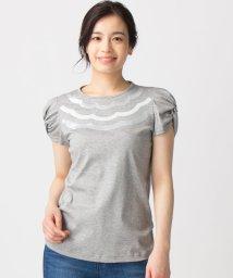 Leilian/スカラップスパンコールTシャツ/500908557