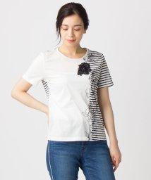 Leilian/ボーダーミックスTシャツ/500908590