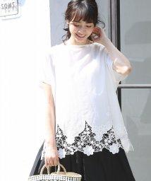 coen/裾レースコンビボートネックTシャツ(ブラック→WEB限定カラー)/500980211