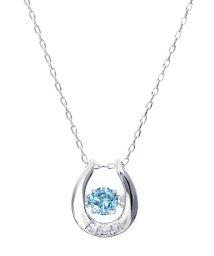 JEWELRY SELECTION/K18WGダンシング天然ダイヤモンドアイスブルー計0.12ct馬蹄ネックレス/500982827
