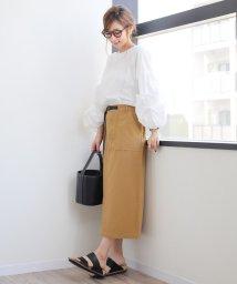 and Me.../【H-4】ベイカー タイトスカート 綿ツイル ベルト付き ロング丈/500983312
