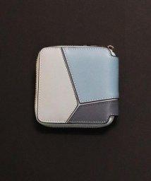 ninon/【牛革】配色パネルジップミニウォレット/二つ折り財布/500982329
