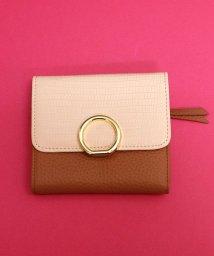 ninon/【牛革】型押しクロコ柄リングモチーフ二つ折り財布/ウォレット/500982363