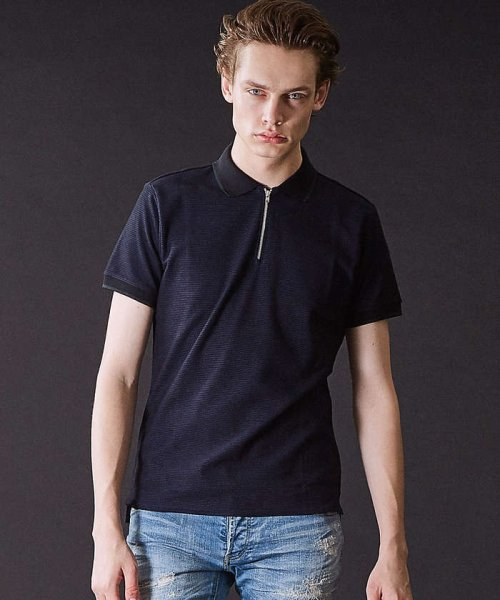 5351POURLESHOMMES(5351POURLESHOMMES)/COOLMAXハニカムZIPポロシャツ/02360022019