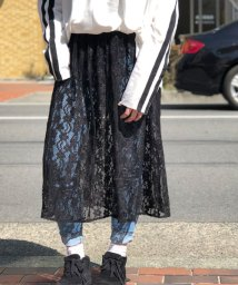 ANDJ/ペチコート付花柄総レースミモレ丈スカート/500986770