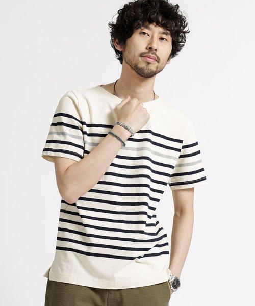 nano・universe(ナノ・ユニバース)/米綿バスクボーダーTシャツ/6688124509