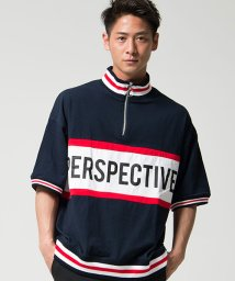 CavariA/CavariA【キャバリア】ラインリブハーフジップ半袖Tシャツ/500994852