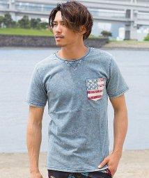 CavariA/CavariA【キャバリア】ポケット付き星条旗柄天竺インディゴクルーネック半袖Tシャツ/500994857