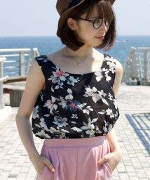 ANDJ/裾シャーリング花柄シフォンタンクトップスキャミソール/500986948