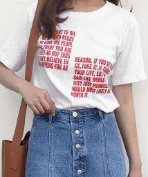 ANDJ/センターラインロゴプリントバイカラー半袖Tシャツ/500987060