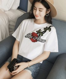 ANDJ/花柄ロゴ刺繍ワッペン半袖シンプルTシャツカットソー/500987061
