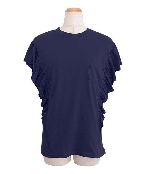ANDJ(ANDJ(アンドジェイ))/袖フリルポケット付き半袖Tシャツ/ts74c03864