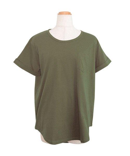 ANDJ(ANDJ(アンドジェイ))/ポケット付きラウンドカット半袖Tシャツ/ts74c03865