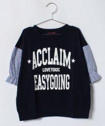 Lovetoxic/袖ストライプ柄ロゴTシャツ/500988617