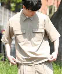 JUNRed/綿麻ハーフジップシャツ/500996123
