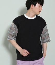 JUNRed/袖チェック切替Tシャツ/500996131