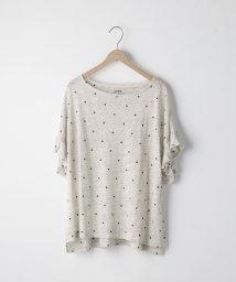 coen/フレンチリネンドットプリントフリルスリーブTシャツ/500996504
