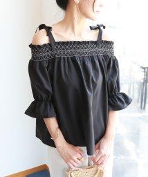 and Me.../【B-12】オフショルダー 刺繍 ブラウス リボン ボリューム袖/500999949