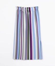 Ballsey/アセテートストライプ Iラインギャザースカート/501000014